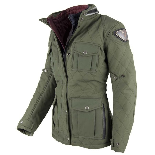 Chaqueta moto invierno cafe racer mujer style lady verde