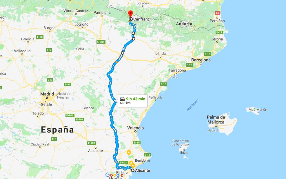 N330 Alicante - Canfranc - Ruta Olvidada